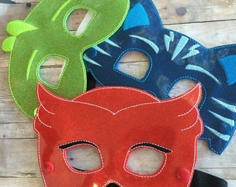 Bedtime Hero Masks inspired by PJ Masks. Masks and Bracelet sets.