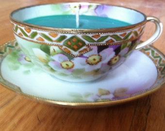 Green Soy Tea Cup Candle - LoveSpell Scented