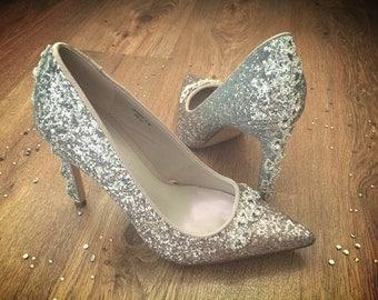 Glitter Heels with Diamanté Trim