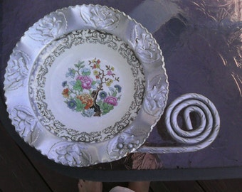 Aluminum and porcelain vintage candy dish