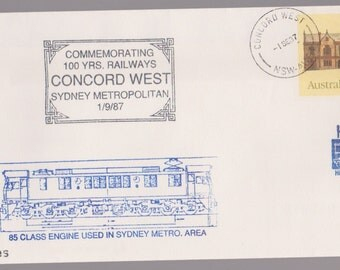 1987 Australia 100 years Concord West SYDNEY Metro Railway Train 85 Class Engine Cancel PSE Commemorative Cover Ephemera