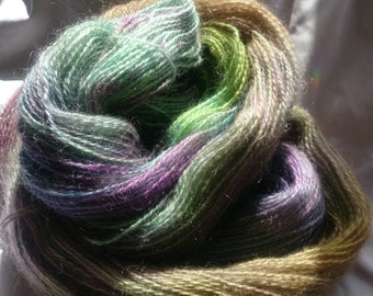 hand dyed mohair, 100g 335m 4 ply yarn- flight
