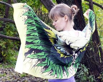 Scarf, Silk Scarf, Print Silk Scarf - Quintessence Silk - Sarong Cover Scarf - Bird Magic, Clothing Boho Trendy Wings, Yellow Shawls Women