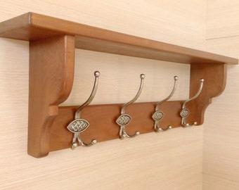 Handmade solid wood shelf with hook