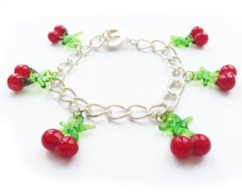 cherry charm bracelet