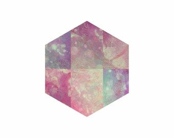 Geometric Polygon Print Dusk - Purple Mauve Amethyst Pastel - contemporary, abstract, digital, wall art, home decor, painting, moon