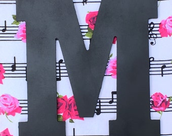 Crafty Music note and rose flower home wall decor wooden letter M