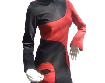 Mod Wool Mini Dress. French. 1960's.