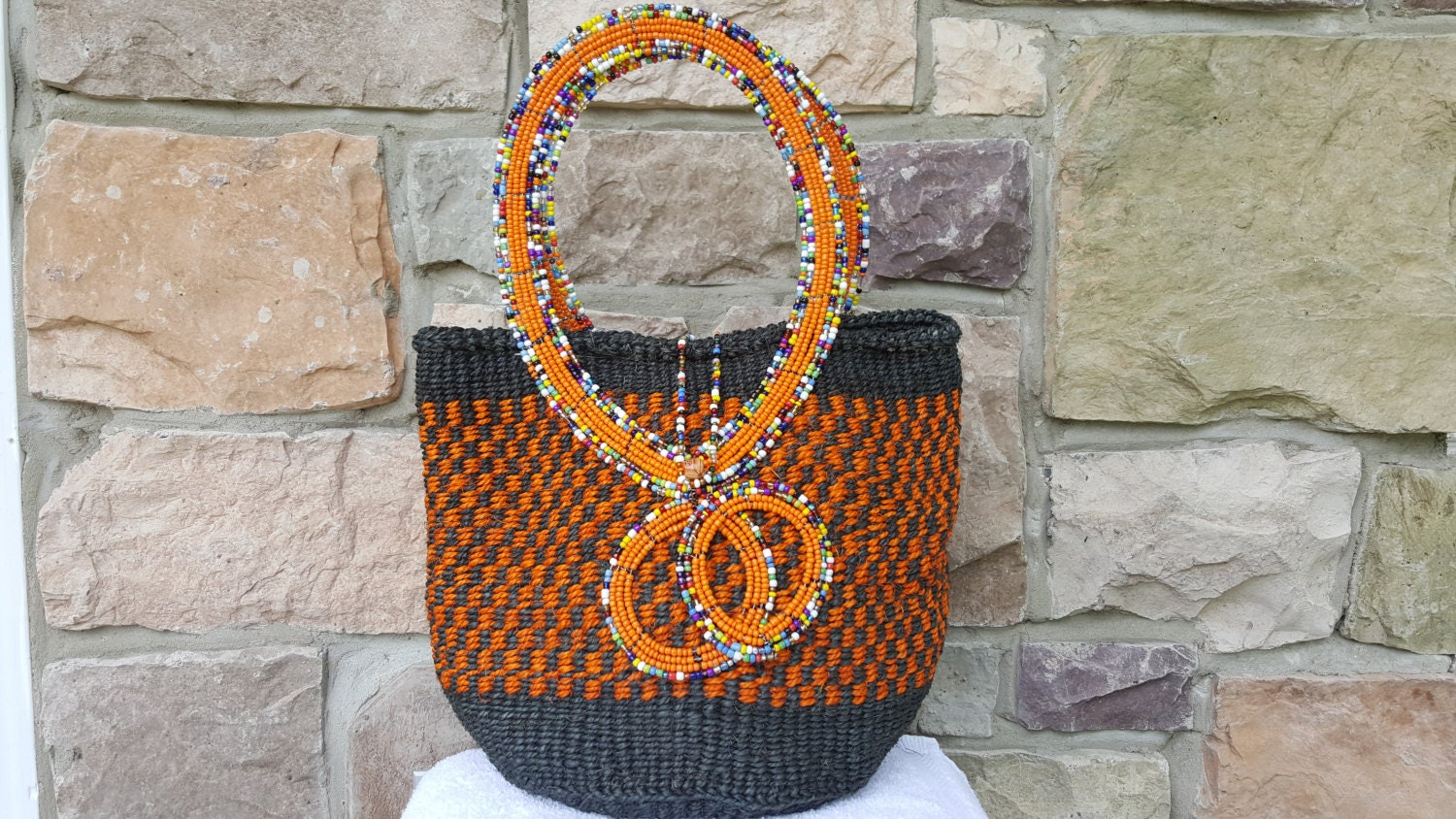 Handmade Baskets From Africa : Beeded hand made african basket