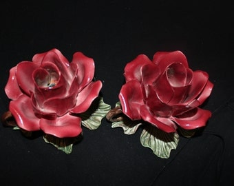Vintage Capodimonte Rose bud candle holders