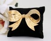 Vintage Large Gold Bow Brooch P.E.P Matte Finish