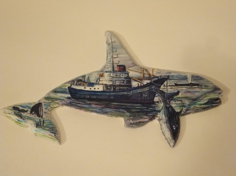 Pequod Moby Dick hvalfangstskib træmaleri af Pbensignor-2399