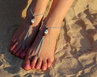 Bali beach barefoot sandals,bridesmaid  foot jewerly barefoot sandals Bridal shoes Footless sandals, Something Blue