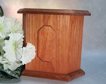 Pet Cremation Urn Handmade Cherry Butternut Mahogany Picture Plack Accent