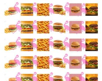 """Burgers and Fries Digital Collage Instant Download, 1"""" Squares"""