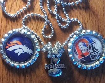 Denver Broncos bottle cap necklace