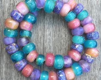 Lampwork Bead set, Pastel Glass Beads, Handmade Glass Beads, Organic Bead Strand, Artisan Italian Glass Beads, Fine Silver Frosted Beads