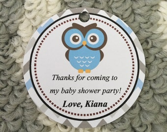 Set of 12 Boy Owl Baby Shower Thank You Tags