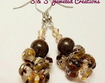 Multi-shade Brown Cluster Earrings