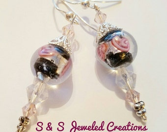 Black and Rose Lampwork Drop Earrings