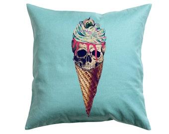 Avante Garde Skull Ice cream -Throw Pillow- Decorative Pillow-Throw Pillow Cover- Tumblr inspired