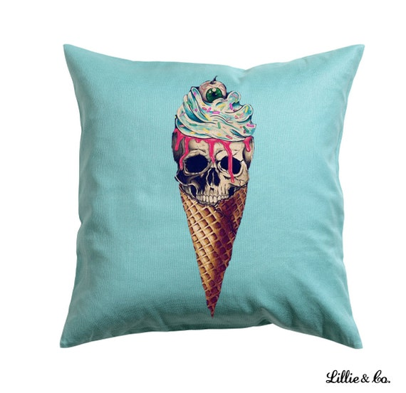 Avante Garde Skull Ice cream Throw Pillow Decorative
