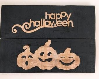 Pallet, reclaimed, rustic wood Happy Halloween sign