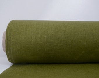 Olive Green Linen Fabric By Yard / Plain Linen Farbic / Pure 100% Linen Fabric From Lithuania /