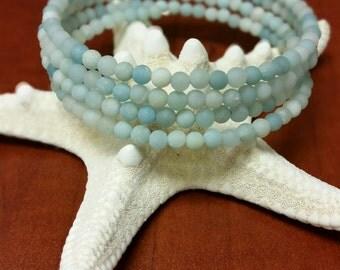 Matte Amazonite Stone Wrap Bracelet