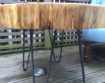 Hand made rustic tree / bark hairpin legs oak coffee table