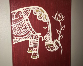 Maroon Elephant Hand-painted Canvas Home or Room Decor or Gift