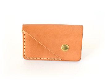 "Leather Cardholder Wallet - Nordic Minimalist Snap Wallet - ""Frigg"" - Natural - Handmade in UK"