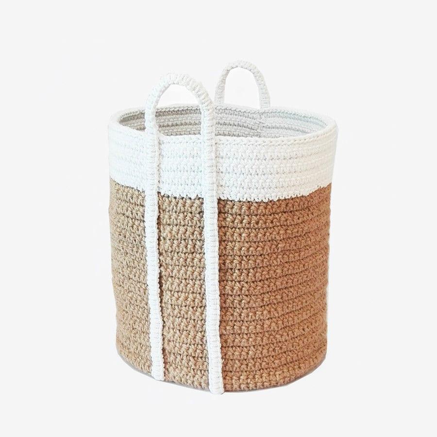 Handmade Jute Baskets : Big basket laundry large jute twine