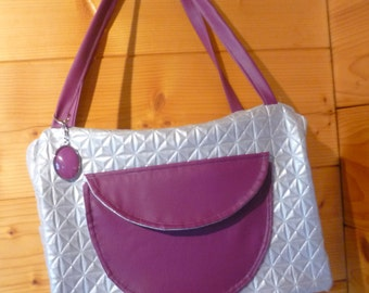 Large rectangular, gray and purple bag