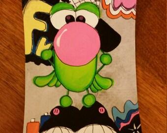Aceo original bubble gum blowing frog