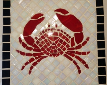 Red Crab mosaic wall art