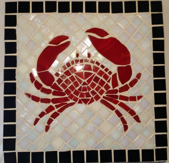 Red Mosaic Wall Decor : Red crab mosaic wall art