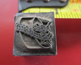"""Vintage Zinc/Lead printing block- letterpress- """"Get Smoking"""""""