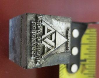 Vintage Zinc/Lead printing block -American Renters Association