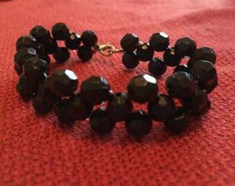 Black grid pattern bracelet