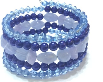 Blue spiral bangle