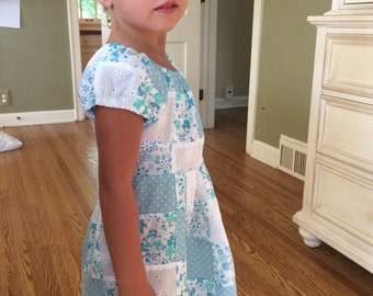 baby blue patchwork dress (size 4/5) {made with love by emma}