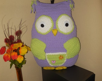 Handmade crochet owl decorative pillow toy