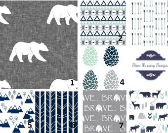 Black and white woodland nursery bedding set bears deer for Mountain crib bedding