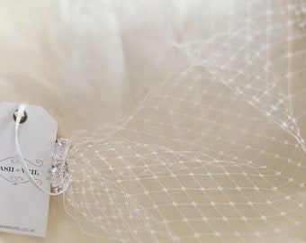 Eliza Hand Beaded Ivory Birdcage Veil - Wedding Accessories - Handmade Beaded Veil - Bridal Veil