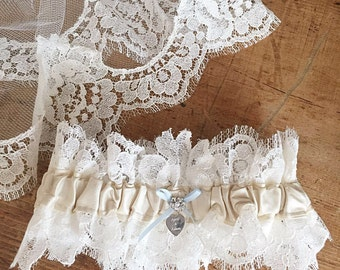 April Ivory Silk and Scallop Lace Wedding Garter