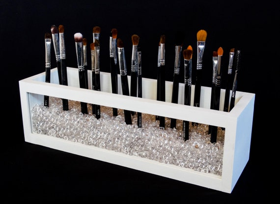 large wood and acrylic makeup brush holder makeup brush. Black Bedroom Furniture Sets. Home Design Ideas
