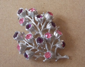 Sarah Coventry, Purple/Pink Rhinestone, Tree Brooch. Silver Tone