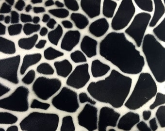 Velboa S-Wave Fabric Prints By The Yard -Giraffe Black and White (W2)