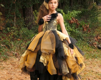 Artisan Gold (or Color Choice) Couture Lace Gown with corset back ~ Pageant ~ Photoshoot ~ Costume